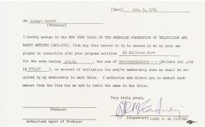 Beatles Autographs Ed Sullivan Contract