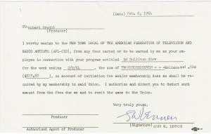 Beatles Ed Sullivan Contract