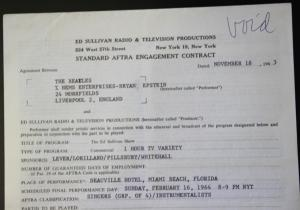 1964 Original Ed Sullivan Contract For the Beatles -Signed by Brian Epstein
